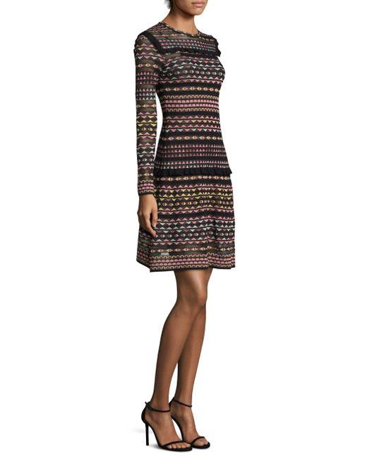 M Missoni | Black Multicolor Geometric A-line Dress | Lyst