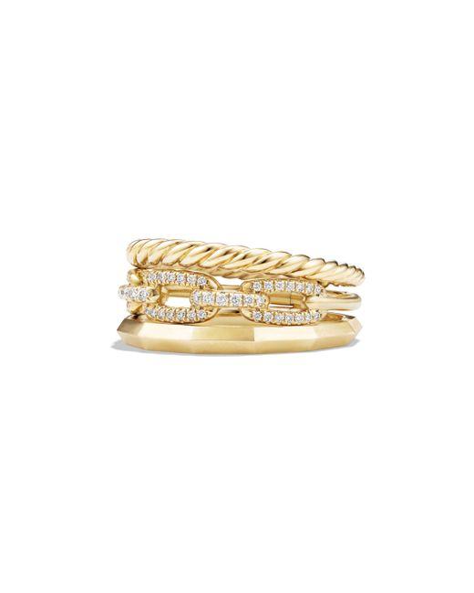 David Yurman - Metallic Stax Narrow Ring With Diamonds In 18k Yellow Gold - Lyst