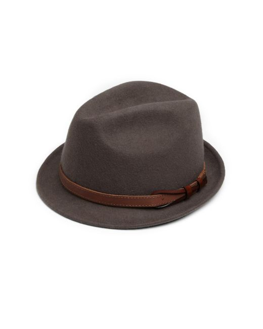 Saks Fifth Avenue | Gray Leather-banded Wool Fedora for Men | Lyst