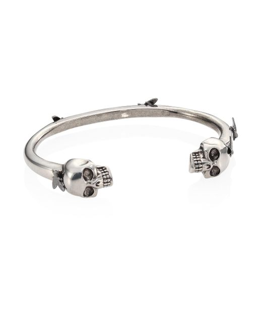 Alexander McQueen | Metallic Silvertone Brass Skull & Flies Bracelet | Lyst