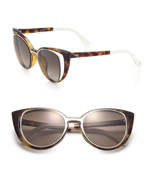 Fendi - Gray Cat's-eye 51mm Sunglasses - Lyst