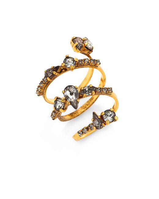 Erickson Beamon | Metallic Double Coil Crystal Ring | Lyst