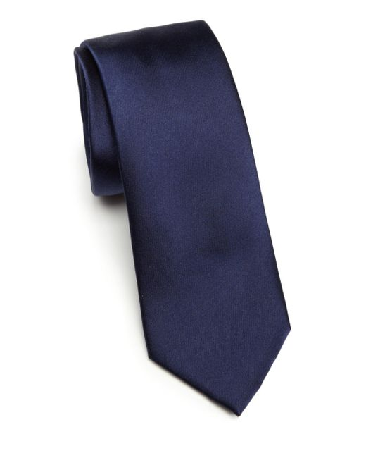 Saks Fifth Avenue - Blue Solid Silk Tie for Men - Lyst