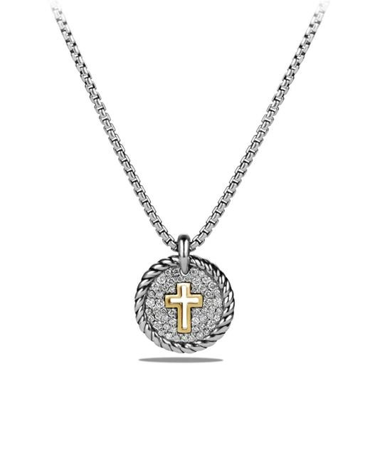 David Yurman - Metallic Cable Collectibles Cross Charm Necklace With Diamonds And 18k Gold - Lyst