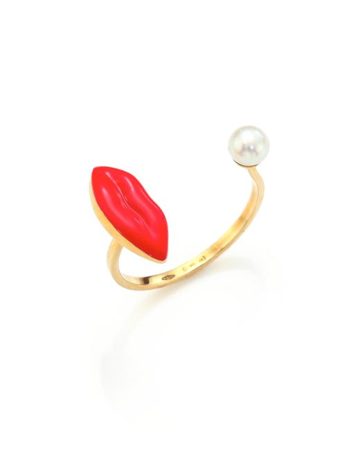 Delfina Delettrez - Red Anatomik 4mm White Pearl Lips Ring - Lyst