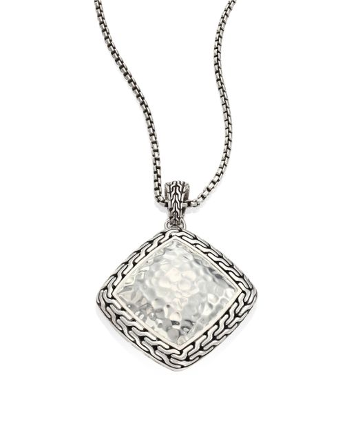 John Hardy | Metallic Classic Chain Hammered Silver Heritage Large Quadrangle Pendant Necklace | Lyst
