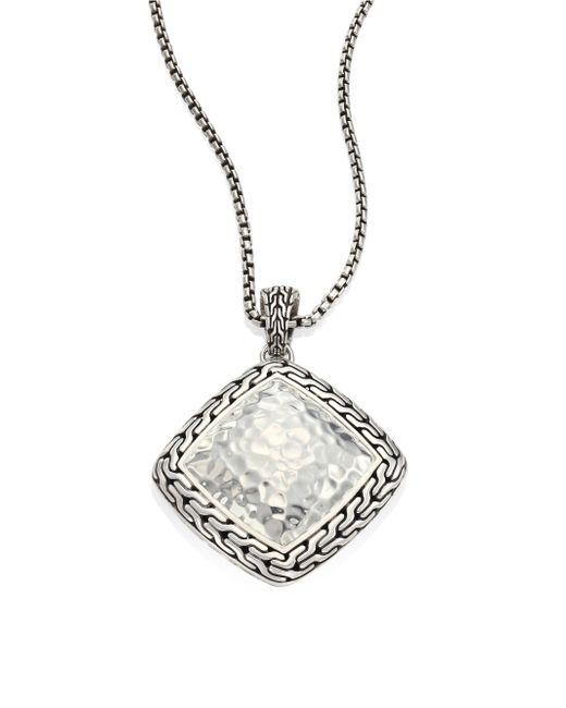 John Hardy - Metallic Classic Chain Hammered Silver Heritage Large Quadrangle Pendant Necklace - Lyst