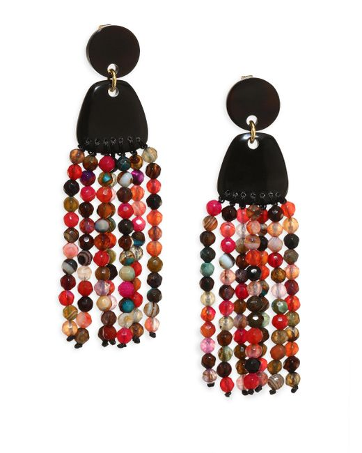 Nest   Multicolor Agate Tassel Earrings   Lyst