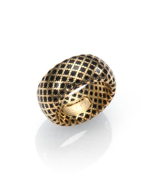 Gucci | Metallic Diamantissima 18k Yellow Gold & Enamel Ring | Lyst