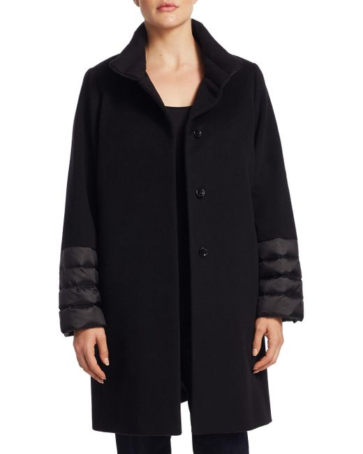 Cinzia Rocca - Black Quilted Stand Collar Wool Coat - Lyst