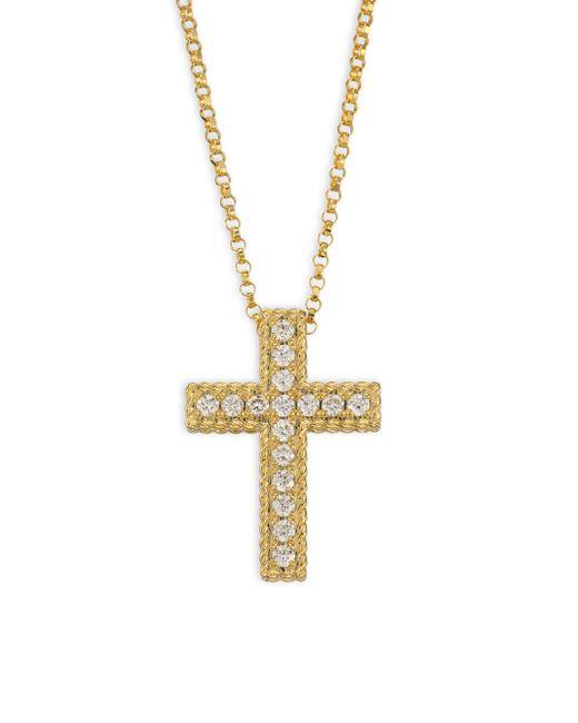 Roberto Coin - Metallic 18k Gold 0.15tcw Diamond Cross Necklace - Lyst