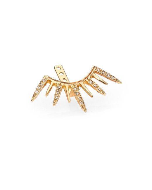 Jacquie Aiche | Metallic Diamond & 14k Yellow Gold Large Starburst Single Ear Jacket | Lyst