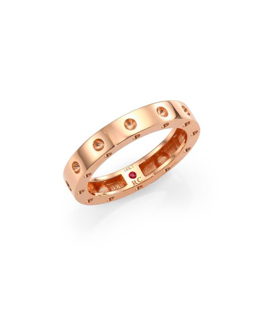 Roberto Coin - Pink Pois Moi 18k Rose Gold Single-row Band Ring - Lyst