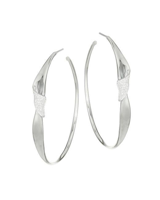 Ippolita - Metallic Stardust Sterling Silver & Diamond Folded Pave Hoop Earrings - Lyst
