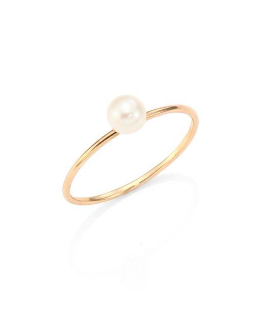Zoe Chicco - Metallic 4mm White Freshwater Pearl & 14k Yellow Gold Ring - Lyst