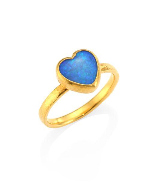 Gurhan - Metallic Amulet Hue Opal & 22-24k Yellow Gold Heart Ring - Lyst