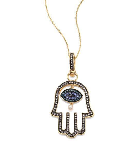 Annoushka | Metallic Hand Of Fatima Diamond, 2mm Freshwater Pearl, Blue Sapphire & 18k Yellow Gold Amulet | Lyst