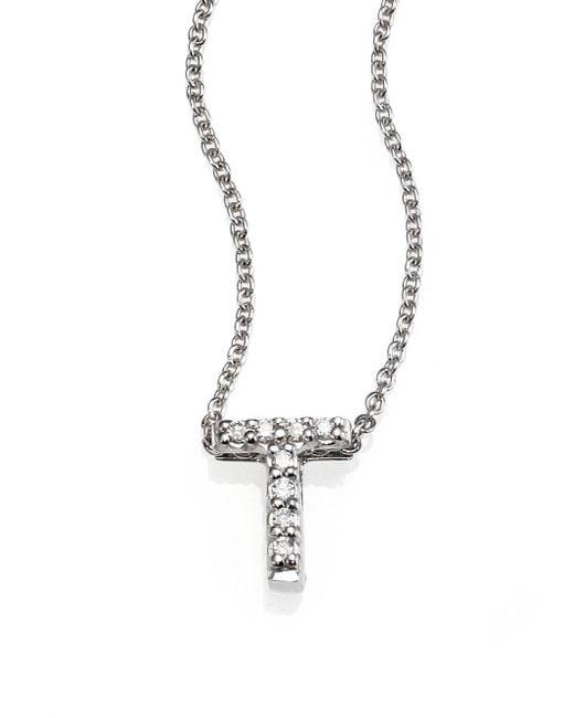 Roberto Coin - Tiny Treasures Diamond & 18k White Gold Love Letter Pendant Necklace - Lyst