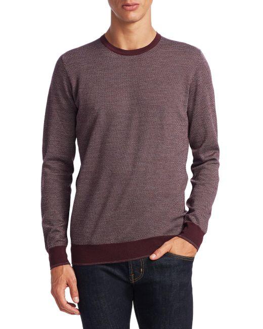 Saks Fifth Avenue - Purple Collection Birdseye Merino Sweater for Men - Lyst