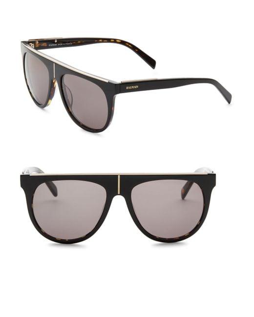 Balmain - Black Flat Top 55mm Aviator Sunglasses for Men - Lyst