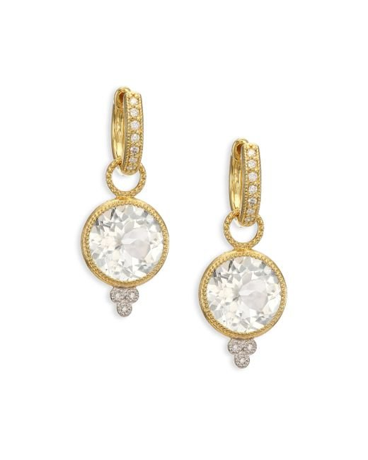Jude Frances | Metallic Provence White Topaz, Diamond & 18k Yellow Gold Round Earring Charms | Lyst
