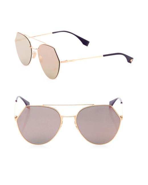 Fendi - Metallic Women's 55mm Notched Aviator Sunglasses - Light Blue - Lyst