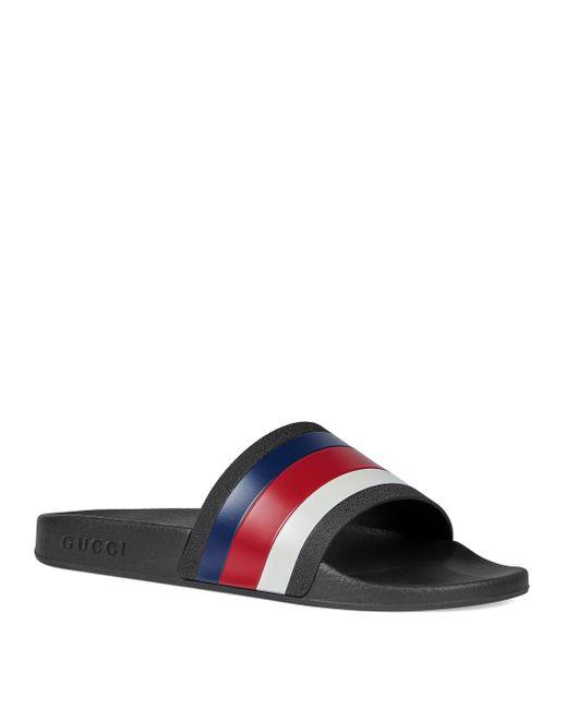 74601709f169 Gucci Men s Pursuit 72 Rubber Slide Sandal - Black in Black for Men ...