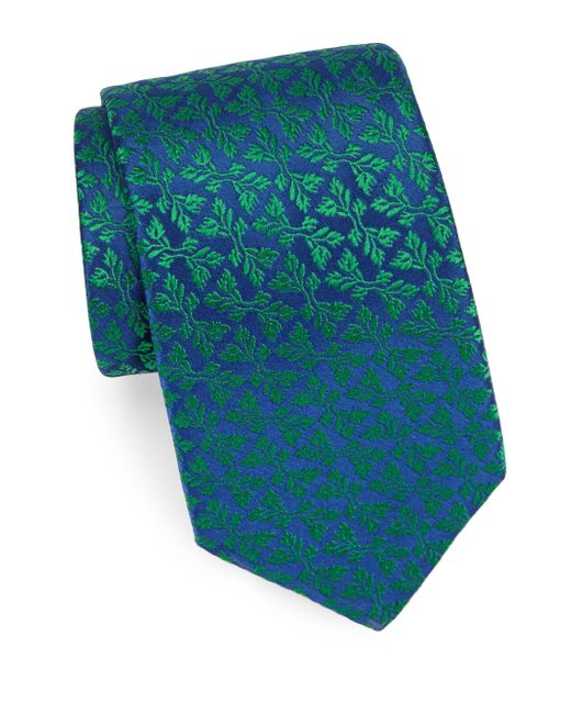 Charvet - Blue Foliage Silk Tie for Men - Lyst