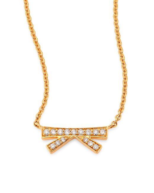 Hueb | Metallic Origami Small Diamond & 18k Yellow Gold Pendant Necklace | Lyst