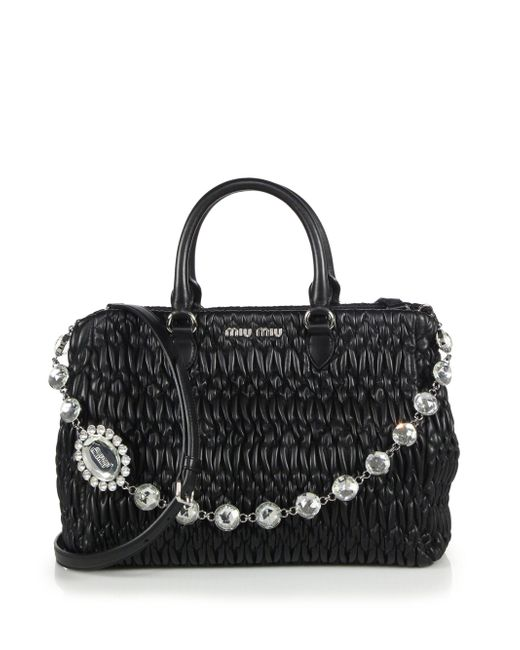 Miu Miu - Black Nappa Crystal Matelasse Leather Satchel - Lyst