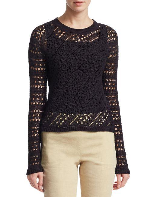 Theory - Black Crochet Crewneck Sweater - Lyst