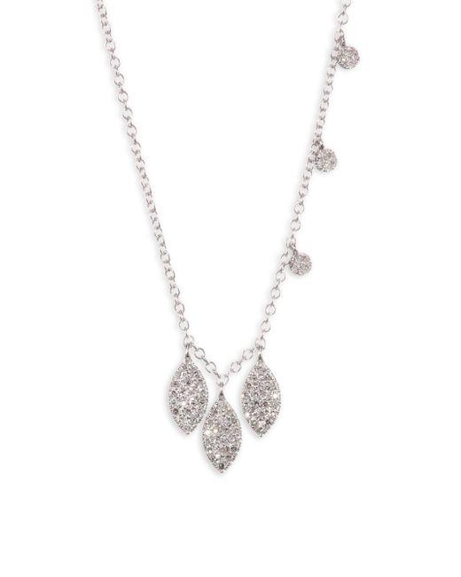 Meira T - Metallic 14k White Gold Triple Marquise Diamond Disc Necklace - Lyst
