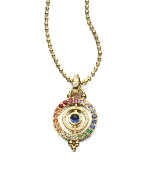 Temple St. Clair | Multicolor Mixed Sapphire & 18k Yellow Gold Dual Ring Pendant | Lyst