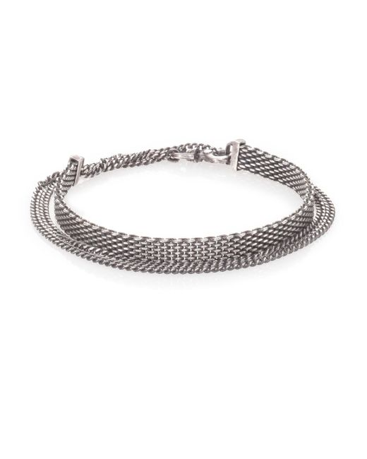 Title Of Work | Metallic Sterling Silver Mesh & Chain Bracelet for Men | Lyst