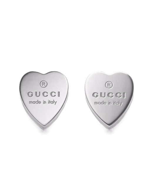 Gucci - Metallic Sterling Silver Heart Earrings - Lyst