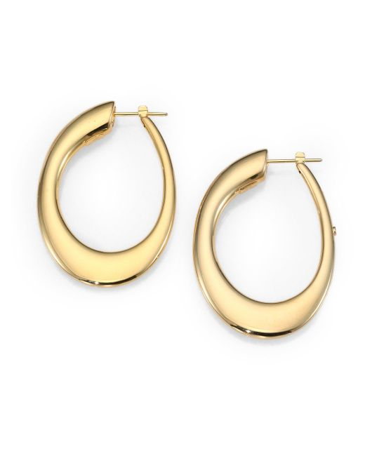 Roberto Coin - Metallic 18k Yellow Gold Oval Hoop Earrings/1.8 - Lyst
