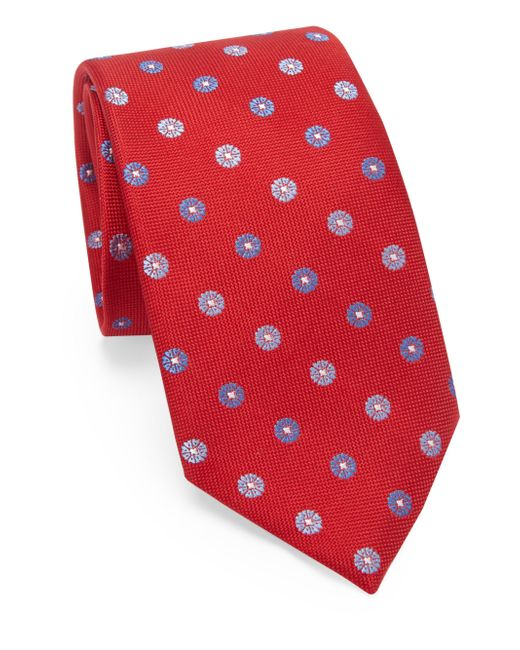 Saks Fifth Avenue - Red Medallion Silk Tie for Men - Lyst