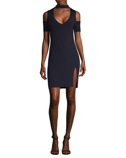 BCBGMAXAZRIA - Black Ribbed Cold Shoulder Dress - Lyst