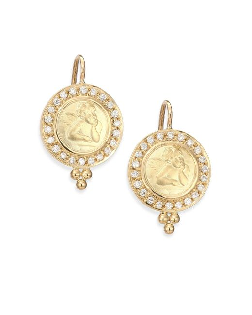 Temple St. Clair | Metallic Angels Pave Diamond & 18k Yellow Gold Drop Earrings | Lyst