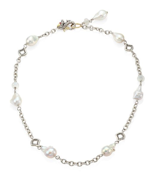 John Hardy - Metallic Legends Naga 11-12mm White Baroque Pearl, Moonstone & Sterling Silver Station Necklace - Lyst