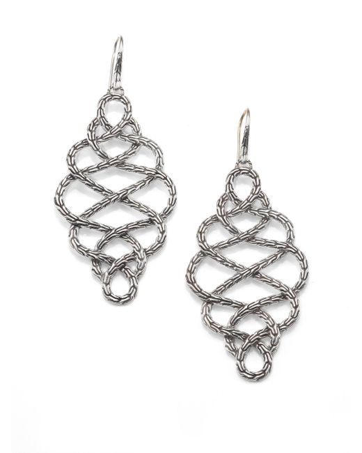 John Hardy | Metallic Classic Chain Sterling Silver Large Braided Drop Earrings | Lyst