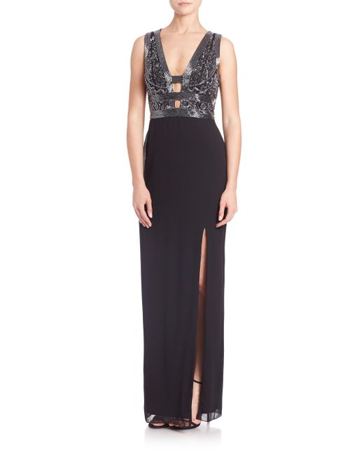 Basix Black Label | Black Embellished Cutout Crepe Gown | Lyst