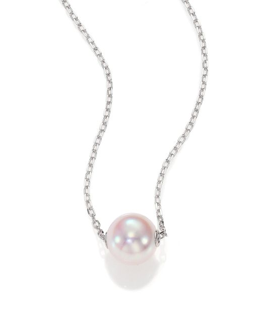 Mikimoto - 8mm White Cultured Akoya Pearl & 18k White Gold Pendant Necklace - Lyst