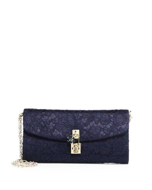 Dolce & Gabbana   Blue Lace Pouchette Chain Clutch   Lyst