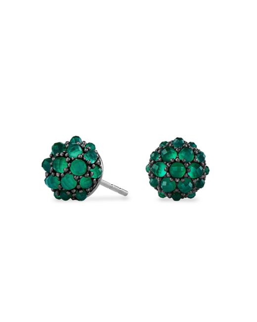 David Yurman - Green Cable Berries Faceted Gemstone & Stainless Sterling Earrings - Lyst