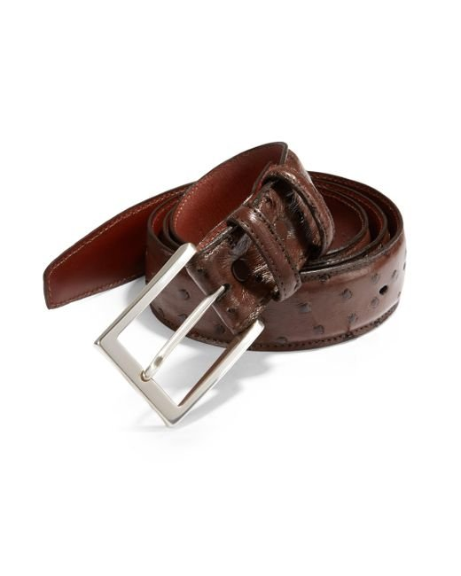 Saks Fifth Avenue | Brown Ostrich Leather Belt for Men | Lyst