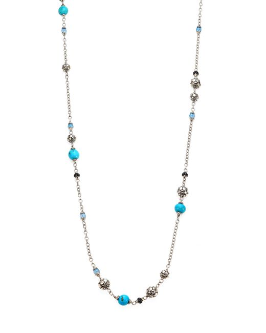 John Hardy - Metallic Dot Turquoise, Swiss Blue Topaz, Black Sapphire & Sterling Silver Sautoir Station Necklace/36 - Lyst
