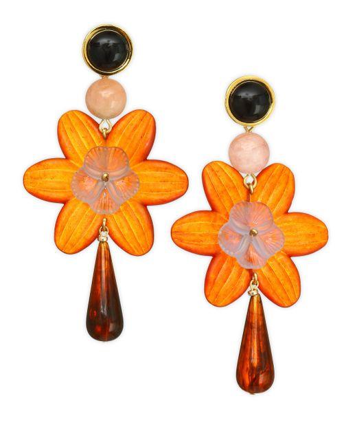 Lizzie Fortunato - Orange Sal Flower Earrings - Lyst