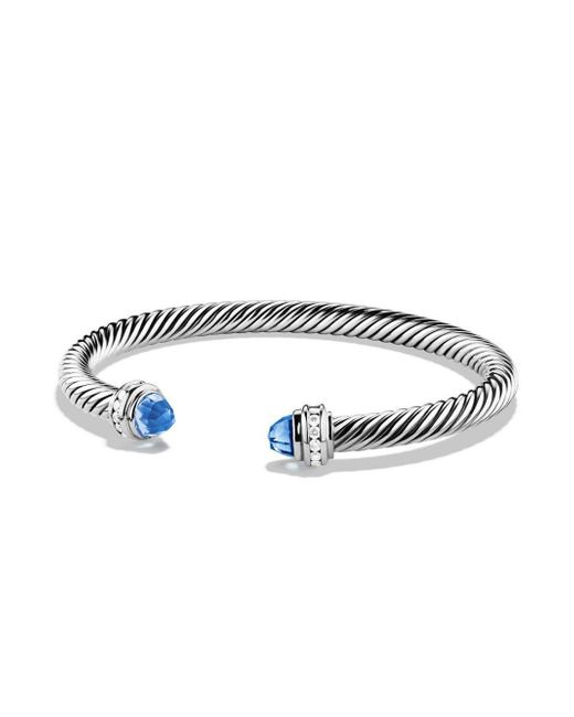 David Yurman - Cable Classics Bracelet With Diamonds And Faceted Blue Topaz - Lyst