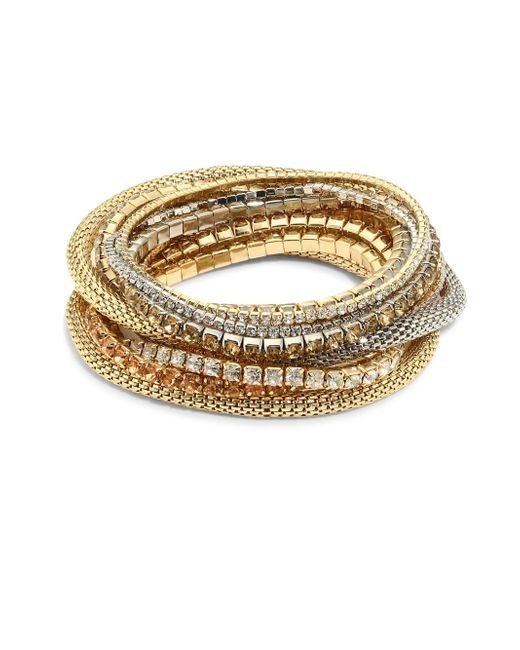 ABS By Allen Schwartz | Metallic Multi Crystal Stretch Bracelet Set | Lyst
